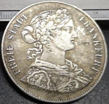 1866 gratis ciudad imperial de Frankfurt 2 vereinstaler Moneda de copia chapada en plata