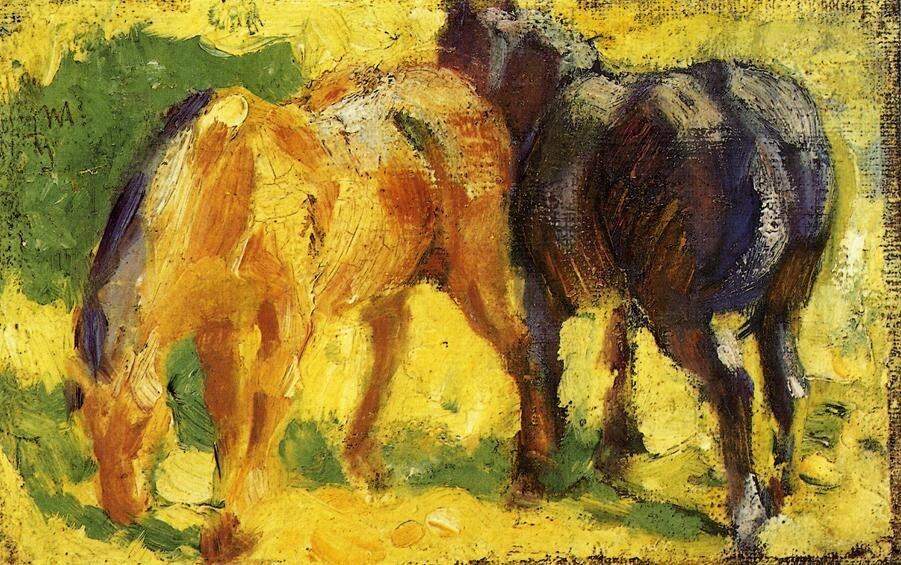 Высокое качество картины маслом холст репродукции Малый лошадь картину 1909 по Франц Марк ручная роспись