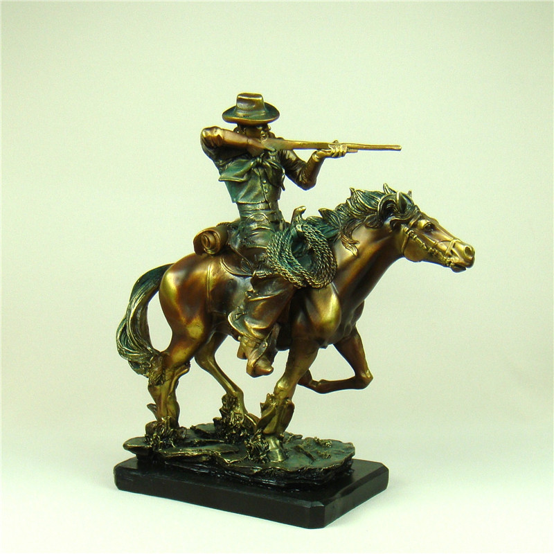 Retro American West Armed Cowboy Statue Handmade Resin Horse Riding Cop Character Sculpture Craft for Office and Home Decoration