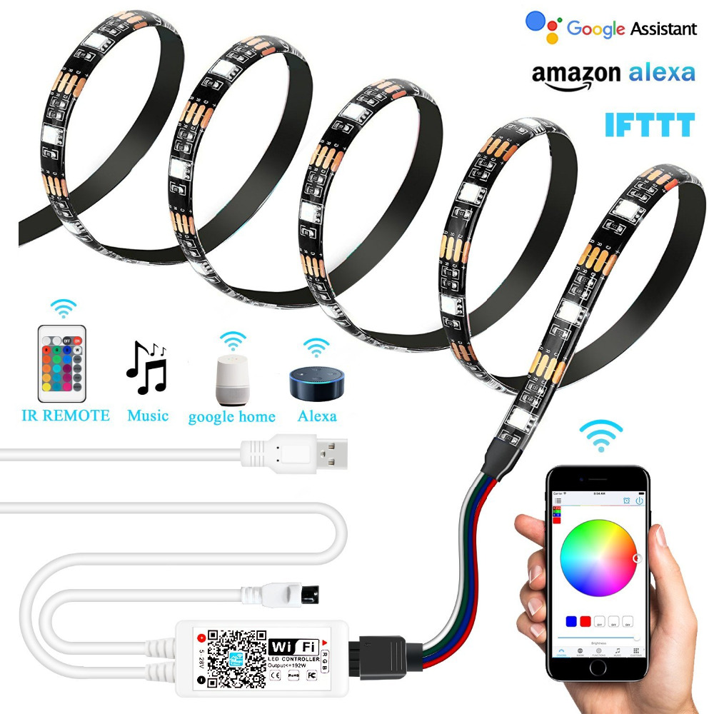 Usb Wifi Pc Tv Backlight Kit Rgb Multicolor Led Accent Light Strip 6 56ft 60leds Smd5050 Dimmable Waterproof Color Bias Lightin In Strips From Lights