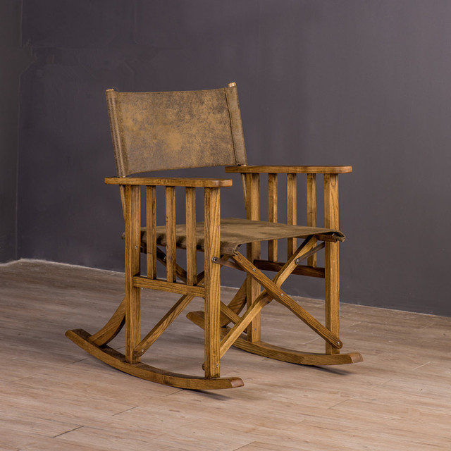 folding rocking chair wood bent parts loft style furniture indoor outdoor portable ameican country director industrial
