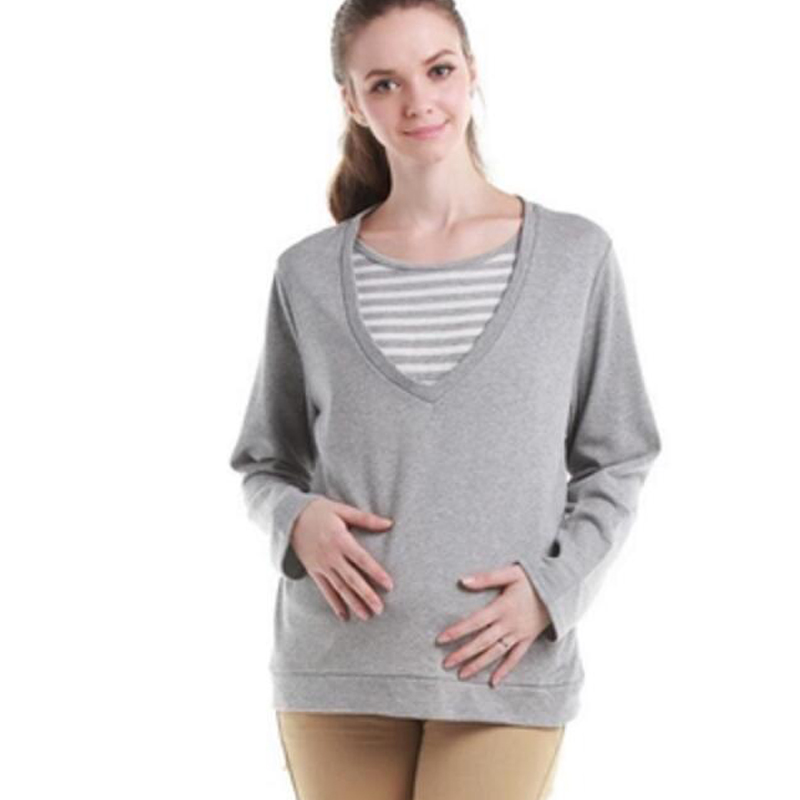 Breastfeeding shirt maternity clothing loop pile maternity o-neck long-sleeve top nursin ...