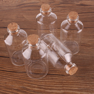 "Image 3 - 24 יחידות גודל 40*75*12.5 מ""מ שקוף 60 ml בקבוקי זכוכית עם פקק פקק ריק בקבוקי תבלינים מלאכות מתנת צנצנות בקבוקי"