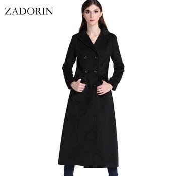 2019 Autumn Elegant Women Slim Maxi Long Wool Coat Fashion Turn Down Collar Double Breasted Black Winter Jacket manteau femme
