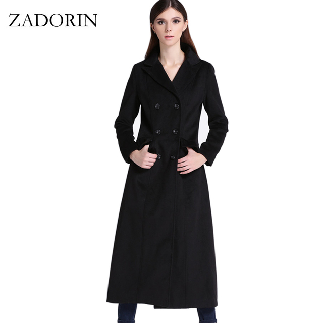 55f8a099bc1 2019 Autumn Elegant Women Slim Maxi Long Wool Coat Fashion Turn Down Collar  Double Breasted Black