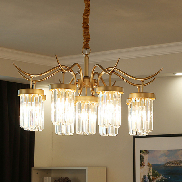 American Country Crystal Chandelier Simple Living Room Dining Room Interesting Light Fixture For Dining Room Creative
