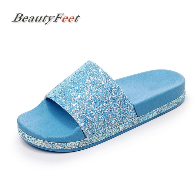 62525909d Women Diamond Slippers Slip On Slides Flat Women Shoes Bling Crystal Sandals  Beach Flip Flops Platform Home Female Summer Shoes