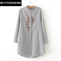 BUTTERMERE Floral 3XL Women Plus Size Shirt Embroidery Autumn Spring Grey Striped Blouse Oversize Button Up