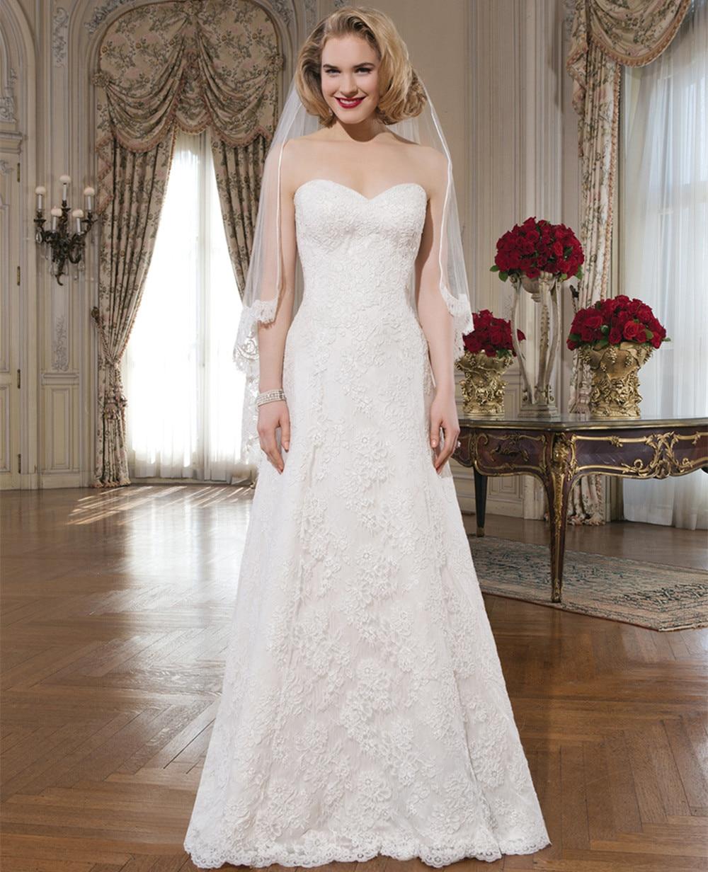 Elegant Long Romantic Lace Wedding Dress With Long Train