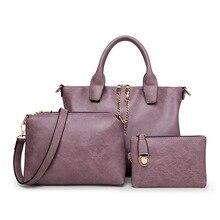 De alta calidad de Cuero de Vaca Bolsas de Hombro de Las Mujeres Bolsos de Marca De Lujo del diseño para las señoras bolsas Messenger Bags 3 Unidades compuesto