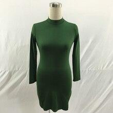 Long Sleeve Turtleneck Bodycon Split Mini Dress RK