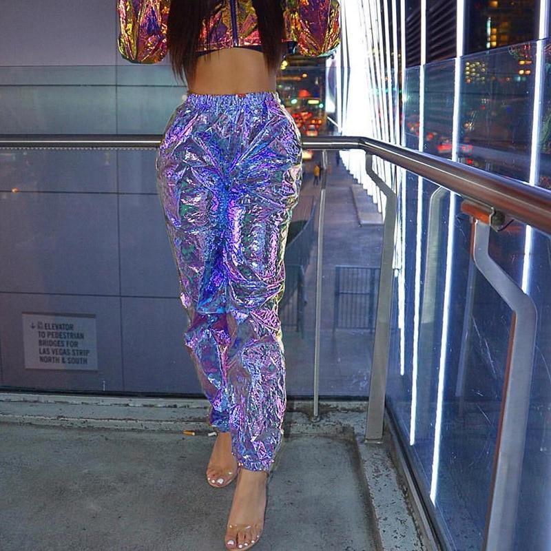 Fashion Summer Bling Laser Holographic Long Pants High Waist Loose Trousers Hip Pop Casual Plus Size Harem Pants Streetwear