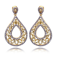 Latest Tread Vintage Ethnic Design Women Water Drop Earrings AAA Cubic Zirconia Party Earrings Real Gold