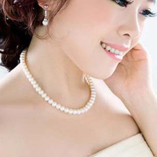 Womens Jewellery Colliers Chain Simulated Pearl Necklace Bridal Jewelry Female White Wedding Gifts