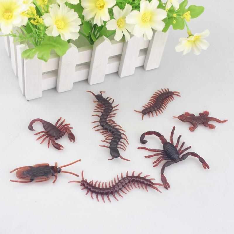 10pcs Spoof Toy Novelty Funny Prank Lifelike Model Centipede Scorpion Cockroach Lizard Fun Toys Halloween Haunted House Fun