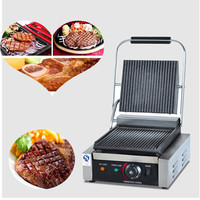 Stainless steel commercial 220V Electric Non stick Sandwich Steak Panini Grill Press Machine