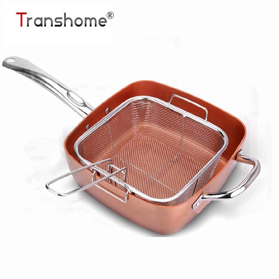 Transhome Poêle Non-bâton Avec Couvercle Fumée Livraison Induction Grill Casserole Pot Steak Oeufs Ustensiles de Cuisine Accessoires de Cuisine