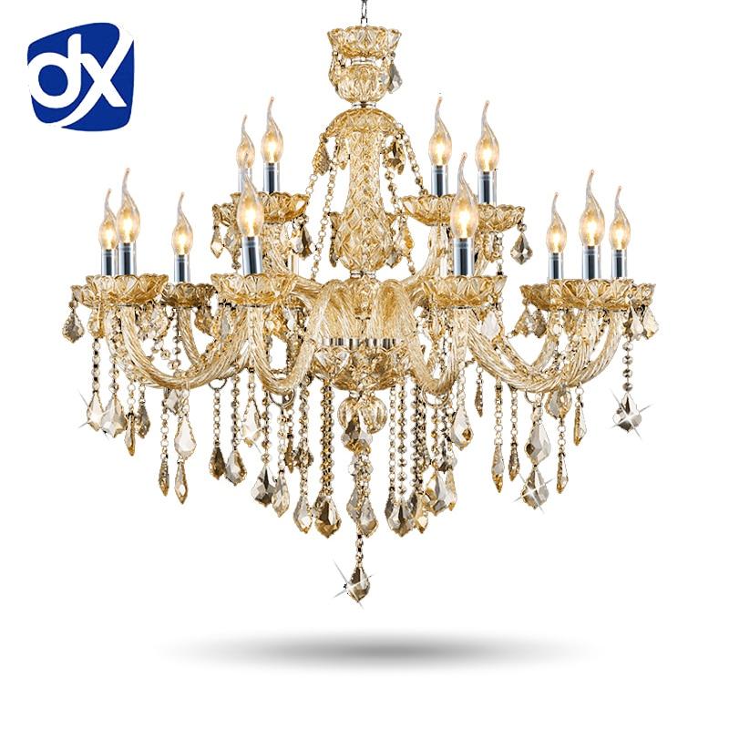 Luxusní export K9 Křišťálový lustr 12 + 6 zbraní Obývací pokoj Světla Luxusní lampa Lustres De Cristal Lustry Doprava zdarma