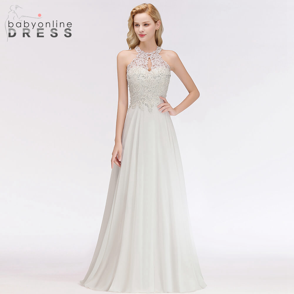 Sexy Illusion Crystal And Pearls Halter   Evening     Dresses   2019 New Arrival Fashion Straight Floor Length Draped Long   Evening   Gown