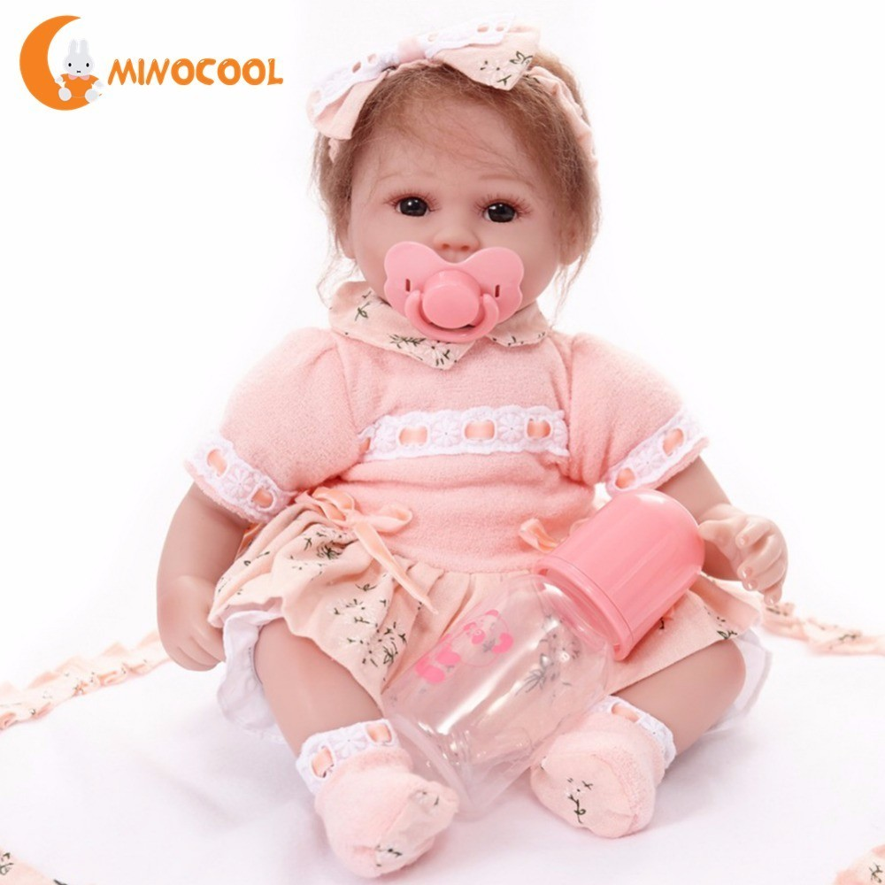 13 Handmade Realistic Babies Reborn Dolls Toys Simulation Silicone Reborn Dolls with Bottle Nipple Pink Clothes for Girls13 Handmade Realistic Babies Reborn Dolls Toys Simulation Silicone Reborn Dolls with Bottle Nipple Pink Clothes for Girls