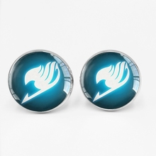 Fairy Tail Cufflinks Guild Logo Glass Bullet Buttons Anime Jewelry Mens Gifts Cosplay Lovers