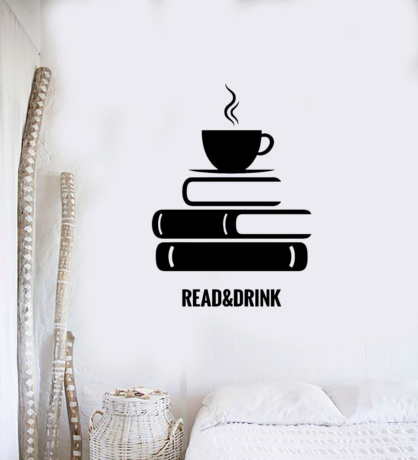 Home Vinyl Decal Quote Books Bookstore Library Room Wall Stickers
