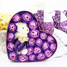 New 20pcs Rose Soap Flowers Bear Soap Flower Gift Box Wedding Gifts For Guests Valentine's Day Present Birthday Gift Souvenir