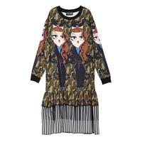 SHENGPALAE 2018 Autumn Winter Round Collar Long Sleeve Cartoon Patchwork Striped Ruffles Hem Camouflage Woman Dress SC252