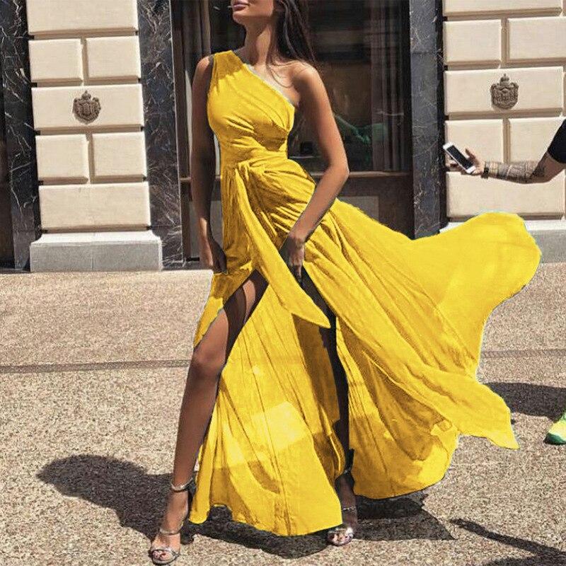 US $15.27 35% OFF|Autumn Women Chiffon Split Dress Plus Size Casual Boho  Solid One Shoulder Vestidos Summer Vintage Party Yellow Long Maxi Dress-in  ...