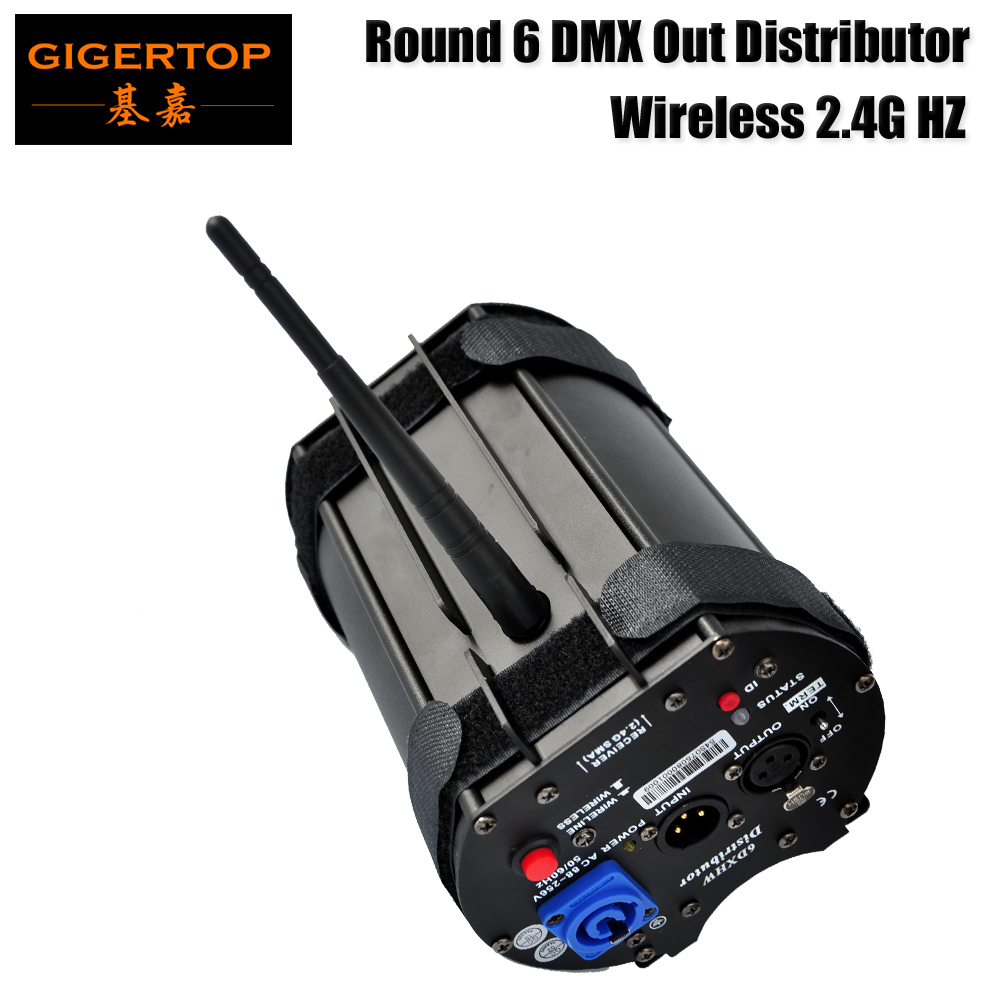 Gigertop TP D1354 Round 6DXHW Distributor Wireless 2.4G Neutrik 3pins XLR Socket Independent DMX512 Signal Amplifier System