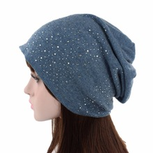 Women Cap Wool Cashmere Skullies Beanies Soft Breathable Folding Portable Hat Autumn Winter Headwear 2018 Rhinestone Decoratieve