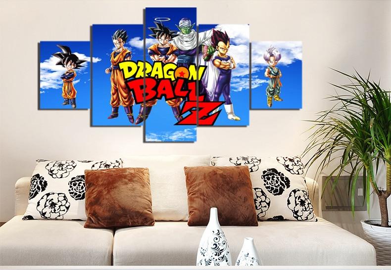 5 Pieces Cartoon Dragon Ball Z Modern Home Wall Decor Painting