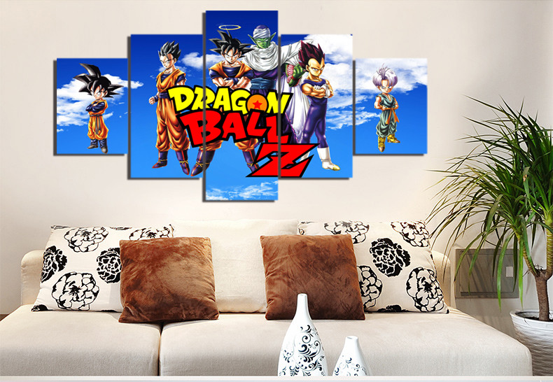5 Pieces Cartoon Dragon Ball Z Modern Home Wall Decor Painting Canvas Art HD Print Painting Canvas Wall Picture For Home Decor