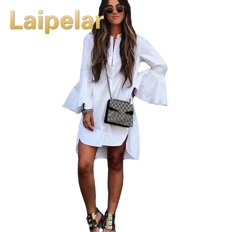 Laipelar 2018 Women White Flare Sleeve Shirt Dress Summer Fashion O Neck Straight Elegan ...