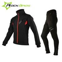 ROCKBROS Cycling Sets Bicycle Winter Fleece Thermal Jacket Men S Bike Pants Winter Cycling Clothing Sportswear
