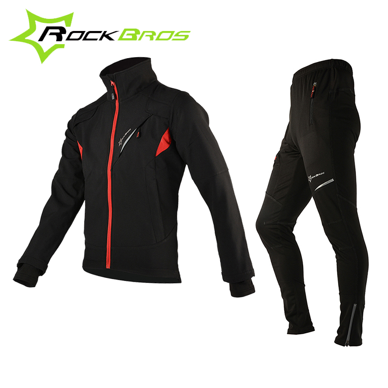 ROCKBROS Cycling Sets Bicycle Winter Fleece Thermal Jacket Men's Bike Pants Winter Cycling Clothing Sportswear Pants Jacket Set santic winter thermal fleece m 3xl 4d pads cycling pants men bicycle bike pants tight trousers sweatpants cycling clothing 2017