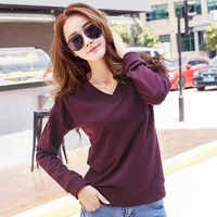 2017 New Autumn Winter Cotton T Shirts For Women V Neck Casual Loose Black Purple T