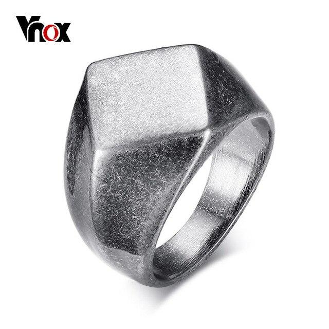 Vnox Punk Chunky Flat Rhombus Top Thumb Ring For Men Fraternal Band Stainless St
