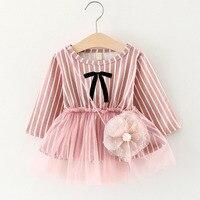 Baby Girls Dresses 2017 Brand Autumn Cute Mini Princess Dresses Cotton Stripes Long Sleeves Yarn Stitching