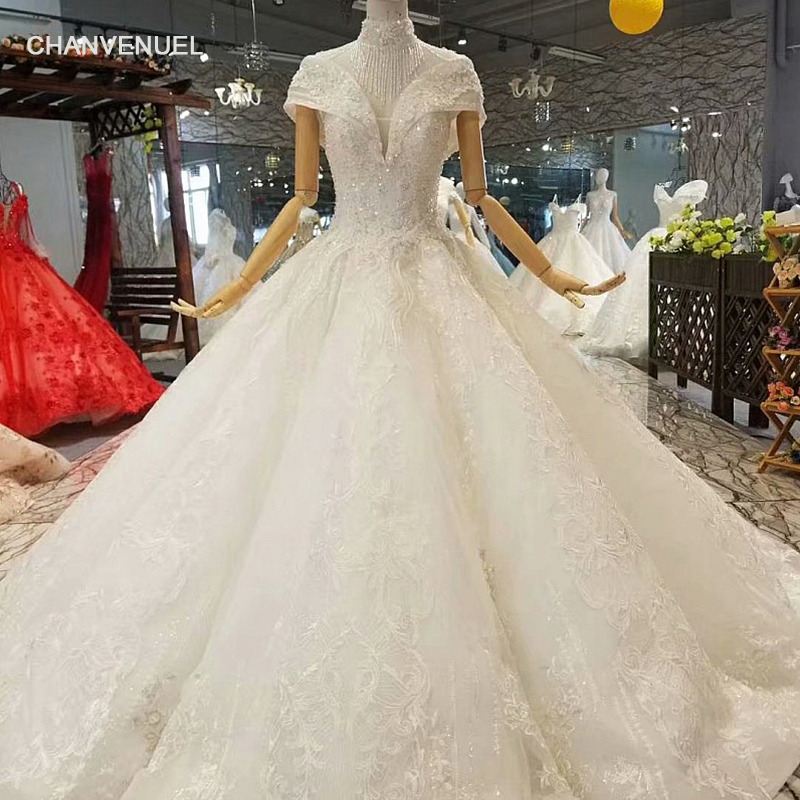 LS850011 free shipping ball gown wedding dresses short sleeves high neck  open keyhole back shiny wedding gown with count tain 21abfe0277b7
