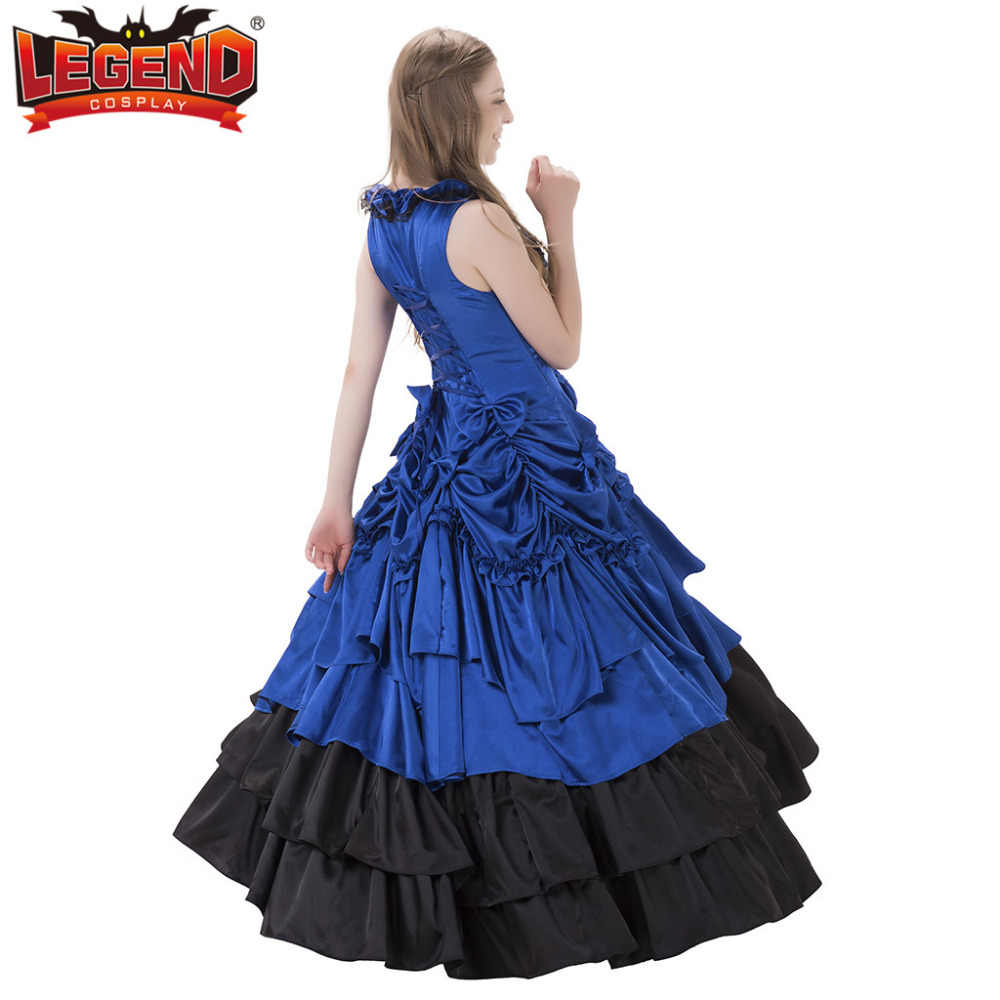 Janpanese/синее готическое платье лолиты без рукавов, кружевное длинное милое платье лолиты, бальное платье, карнавальный костюм на Хэллоуин