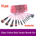 Envío gratis! Pro 15 unids rosa animales cabra pelo natural pinceles de maquillaje Kit set con Red serpiente leatehr bolso de la caja Dropshipping
