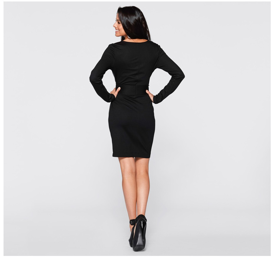 Chic Black Long Sleeve Pu Dress
