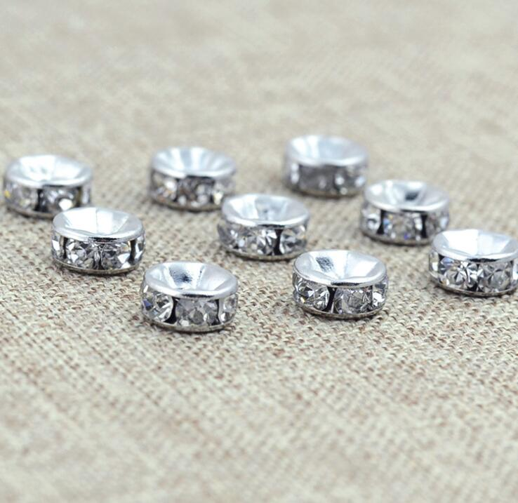 10pcslot Diam 7mm Gold Silver Color Rhinestone Rondelles Crystal Beads Loose Spacer Beads for DIY Jewelry Making