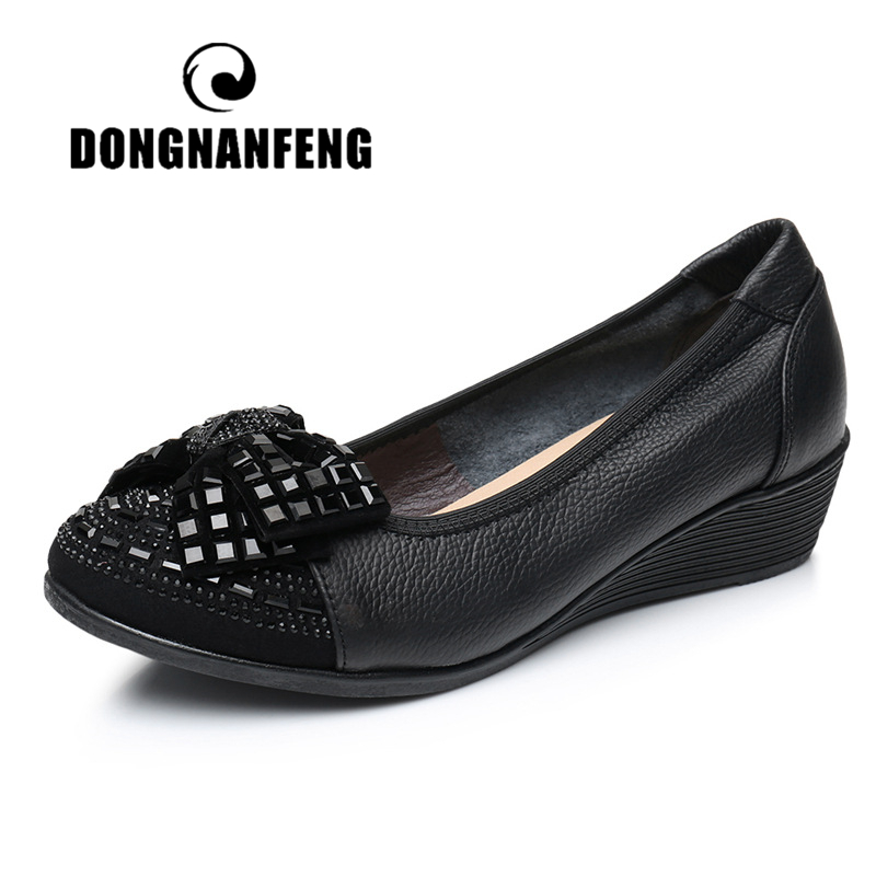 DONGNANFENG Women Shoes Mother Flats Cow Genuine   Leather   Pigskin Slip On Rubber Casual   Suede   Vintage Bowknot Size 34-41 HN-1625