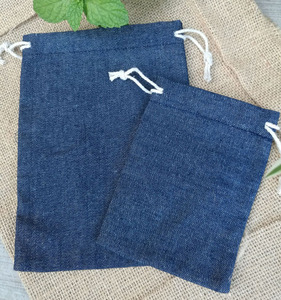 Image 3 - Cotton Jean Drawstring Bags  8x10cm 9x12cm 10x15cm 13x17cm pack of 50 Makeup Jewelry Denim Gift Pouch