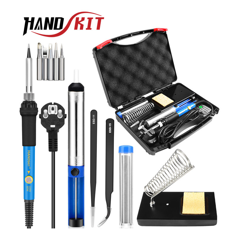 HANDSKIT 60W 110V 220V Soldering Iron Kit Electric Adjustable Temperature Soldering Iron With Soldering Iron Tips Stand Tools(China)