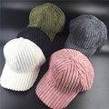 100% algodón Hombres Mujeres Casual adelante rusia rayas hueso strapback tapas de pana verde blanco rosa sombrero lindo de las señoras gorra de béisbol