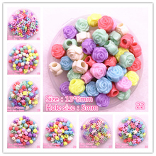50pcs/lot Multicolour Acrylic Large Hole Beads for Children Jewelry Making DIY Handmade Bracelets Necklace