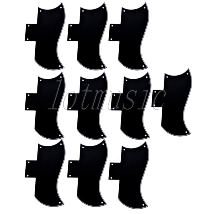 10Pcs Pickguard 3 Ply Black Scratch Plate New For Guitar Replacement sg standard full face guitar pickguard scratch plate zebra stripe with screws